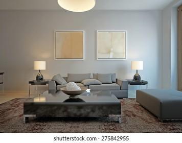 Living room minimalism style. 3d render