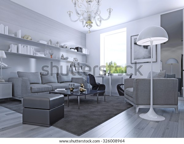 Living Room Modern Style Elegant Living Stock Illustration 326008964