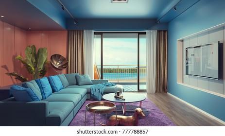 Living room near the seaside. 3d rendering and illustration.