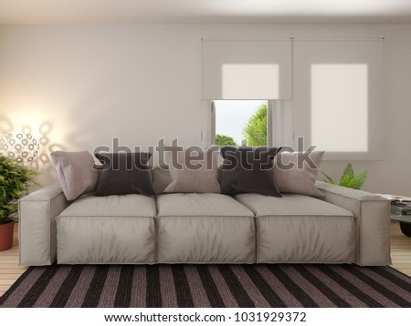 Living Room Near Window Sofa Wooden Stock Illustration Royalty