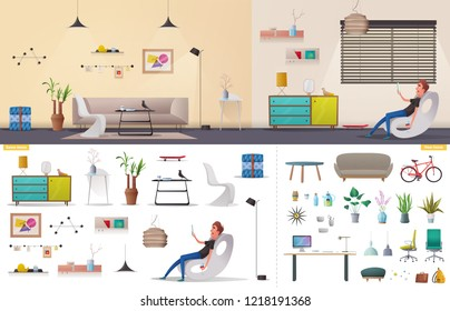 Living room and office interior. Modern apartment, scandinavian or loft design. Cartoon  illustration. Creative office and Co-working center. Comfortable workplace. Creative work