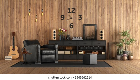 Living room in rustc style with audio equipment, black furniture and guitar on wooden wall - 3d rendering