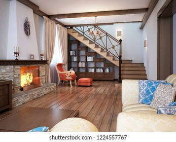 Living room in a rustic style with soft furniture and a large fireplace with classic elements. 3D rendering.