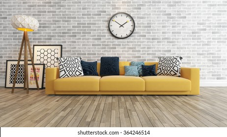 living room or saloon interior design with big wall yellow seat or sofa and picture frames watch 3d rendering by sedat seven