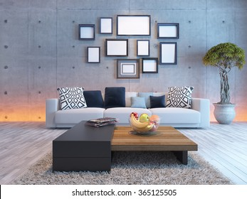 living room or saloon interior design with under light wall and picture frames 3d rendering