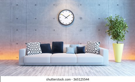 living room or saloon interior design with under light wall 3d rendering
