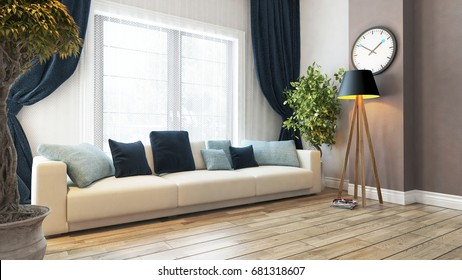 living room or saloon interior design with seat and curtain 3d rendering