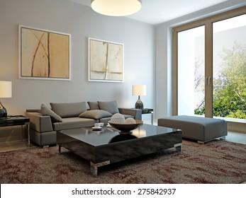 Living room scandinavian style. 3d render