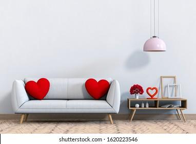 living room and sofa interior design 3D illustration, valentine.
