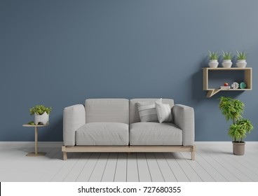 Living room with sofa, small shelf and plants,minimal design, 3D rendering