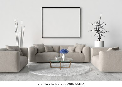 Living room, sofa, two chairs and table. On the wall of an empty picture frame. 3D illustration
