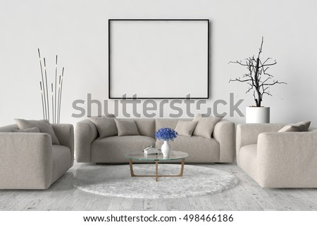 Living Room Sofa Two Chairs Table Stock Illustration Royalty Free