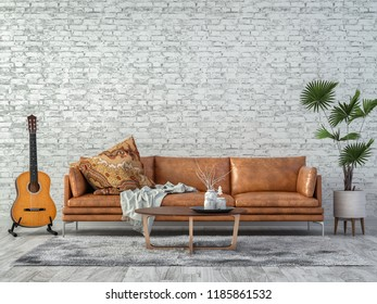 Living room with sofa and white guitar in the Middle. 3d render and illustration.