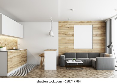 Living room in a studio apartment with wooden and white walls, wooden floor and tiles near countertops in the kitchen corner. Bar table with stools. Vertical poster. 3d rendering mock up