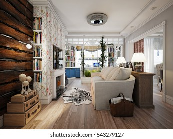 Living room in style of Provence, decorated with vintage accessories. 3d render