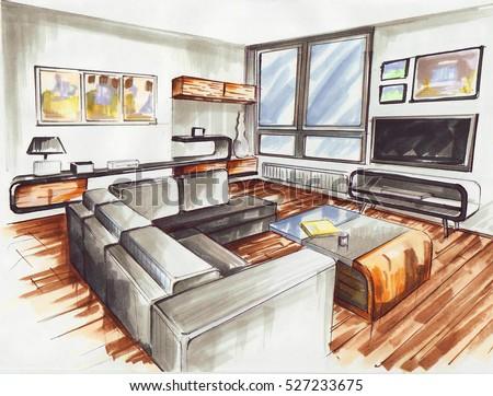 Modern Interieur Living : Living room very modern interior design stockillustration