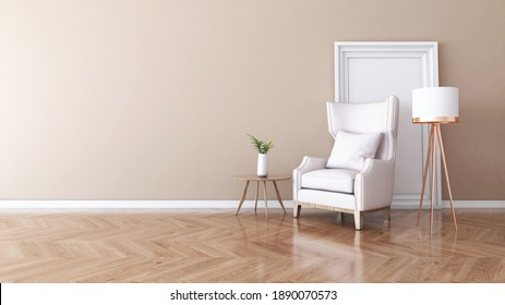 Living room with Wall Background. 3D illustration, 3D rendering