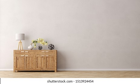 Living room wall with dresser and copy space for poster or canvas (3d rendering)
