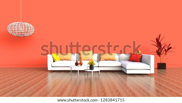 Stupendous Living Room White Sofa Orange Wall Stock Illustration 1283841715 Gmtry Best Dining Table And Chair Ideas Images Gmtryco