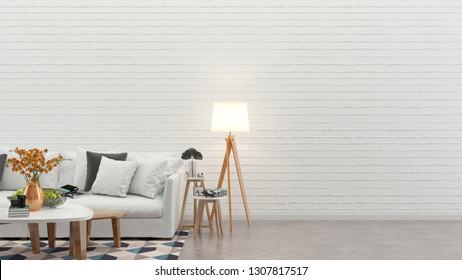 living room wood floor wall modern interior design template 3d illustration background texture