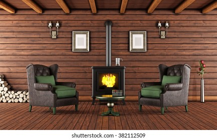 Living room of a wooden house with cast iron fireplace and two leather armchair - 3D Rendering