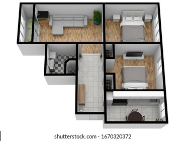 Living space with using colors and textures. Floor plan top view. 3d. Top plan.