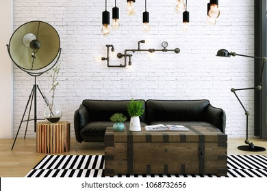 Livingroom design ,interior of industrial style, 3d Rendering, 3d illustration