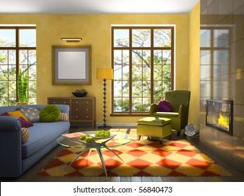 Soggiorno moderno divano verde stock illustrations images