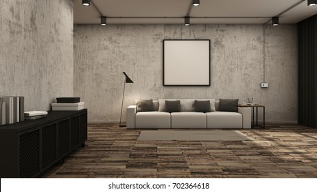 Livingroom interior design loft black metal cabinet cement wall wood floors - 3D render