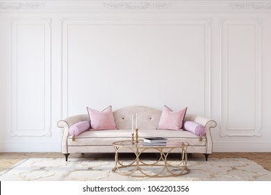 Living-room interior in french style. Mockup. 3d render.