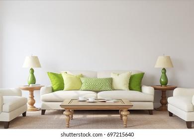 Living-room interior. Mockup. 3d render.