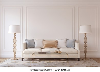 Living-room interior in neoclassic style. Mockup. 3d render.