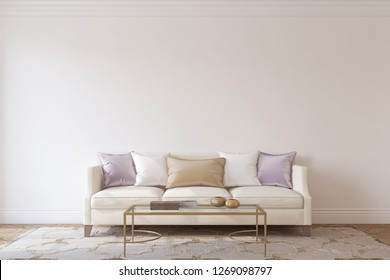 Living-room interior in neoclassic style. Interior mockup. 3d render.