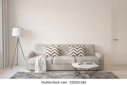 Living-room interior in scandinavian style 3d render.