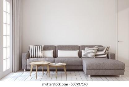 Interior de salón en estilo escandinavo de 3D.
