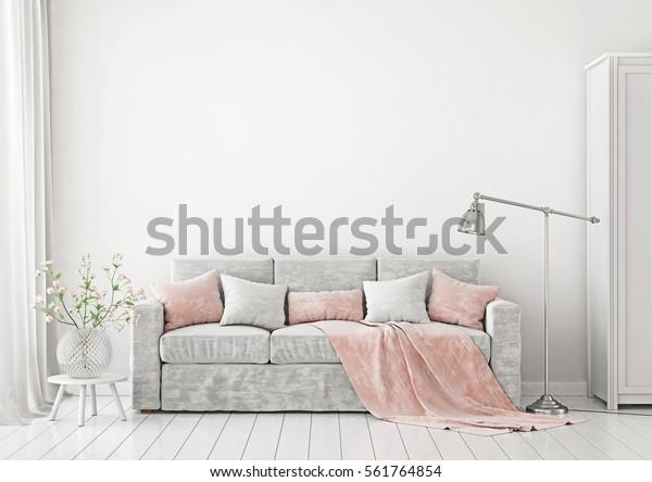 Woonkamer Interieur met bank, kussens, plaid, lamp en vaas met bloemen op lege witte muur achtergrond. 3D-rendering.