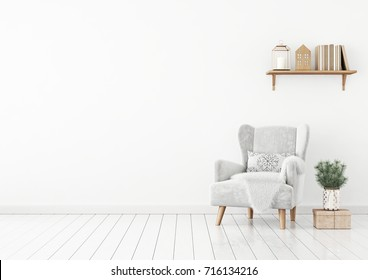 Livingroom interior with velvet armchair, pillow, shelf with books and pine branches in vase on white wall background. 3D rendering.