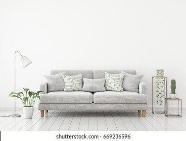 Livingroom Interior Wall Mock Up With Gray Fabric Sofa And Pillows On White  Wall Background With