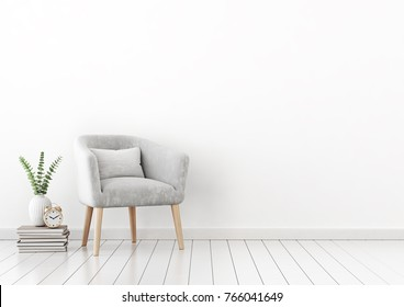 Livingroom interior wall mock up with gray velvet armchair, cushion, books and plant in vase on empty white background. 3D rendering.