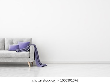 Livingroom interior wall mock up with grey velvet sofa, violet pillows and plaid on empty white background. 3D rendering.