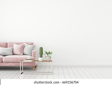 Livingroom interior wall mock up with pink velvet sofa and pillows on white wall background with free space on right. 3d rendering.