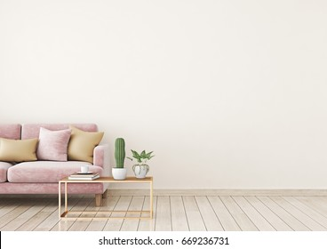 Livingroom interior wall mock up with pink velvet sofa and pillows on light beige wall background with free space on right. 3d rendering.