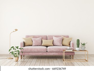 Livingroom interior wall mock up with pink fabric sofa and pillows on light beige wall background with free space on top. 3d rendering.