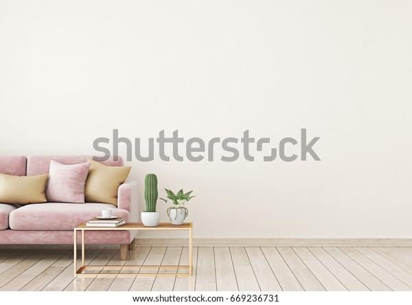 Woonkamer interieur muur mock up met roze fluwelen bank en kussens op licht beige muur achtergrond met vrije ruimte aan de rechterkant. 3d rendering.