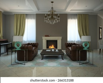 Living-room in the modern country-house 3D
