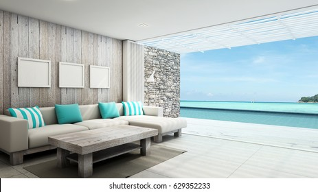 Livingroom summer beach pool villa outdoor background take view sea -3D render