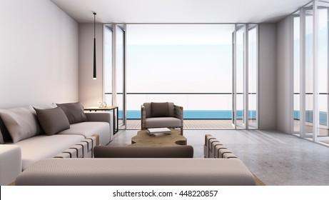 Livingroom take sea view - 3D render