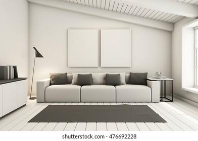 Livingroom Interior Design Loft Black Metal Stock Illustration