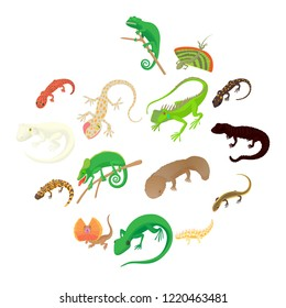 Lizard icons set in cartoon style on a white background
