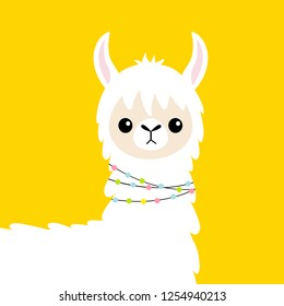 Llama alpaca head baby face. Cute cartoon funny kawaii smiling character. Childish collection. Fluffy hair fur. T-shirt, greeting card, poster template print. Flat design. Yellow background.